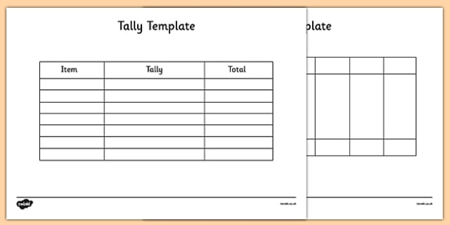 Tally Template - tally, template, tally chart, graph, maths, numeracy
