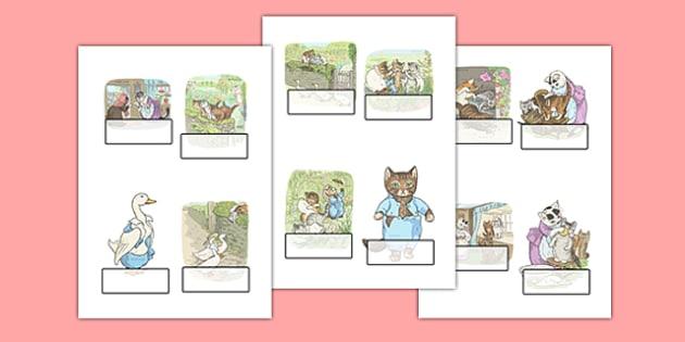 Beatrix Potter - The Tale of Tom Kitten Editable Self Registration - beatrix potter, tom kitten