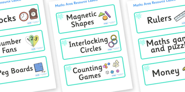 Turquoise Themed Editable Maths Area Resource Labels - Themed maths resource labels, maths area resources, Label template, Resource Label, Name Labels, Editable Labels, Drawer Labels, KS1 Labels, Foundation Labels, Foundation Stage Labels, Teaching L