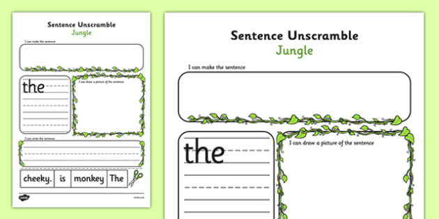 Jungle Sentence Unscramble Worksheets - jungle, sentence, game