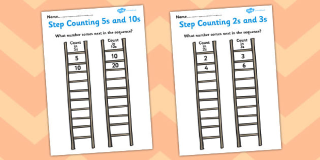 Step Counting Worksheet - step counting, counting, worksheets, counting worksheets, count, numbers, numeracy, maths, counting up, counting down, steps