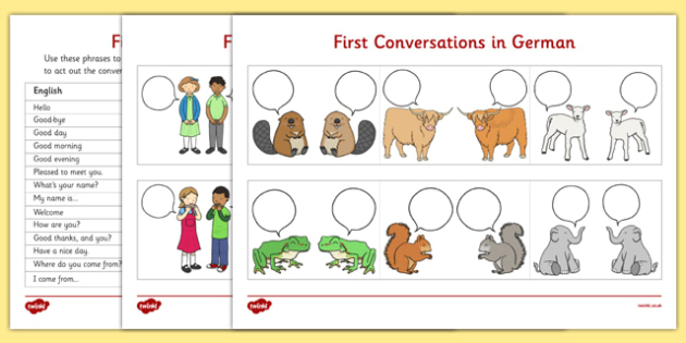 First Conversations in German Comic Strips - german, first conversations, comic strip
