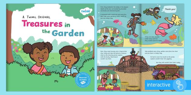 Treasures in the Garden eBook - ebook, outdoor, learning, forest school, relationships, fairy, queen, dragon, pirates, space, moon,