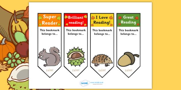 Autumn Bookmarks - autumn, bookmarks, seasons, season bookmarks, themed bookmarks, autumn themed, class management, reading, rewards, awards, literacy