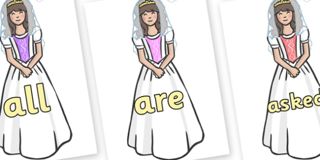 Tricky Words on Princesses - Tricky words, DfES Letters and Sounds, Letters and sounds, display, words