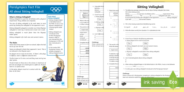 Sitting Volleyball Differentiated Activity Sheets - Australian Paralympics