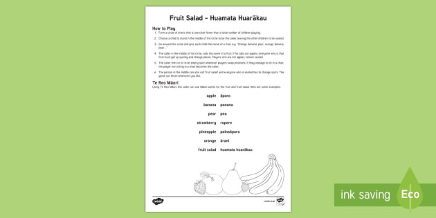 Fruit salad Activity English/Te Reo Māori - New Zealand, Back to School, game, activity, group play, group learning, mat time, getting to know y - New Zealand, Back to School, game, activity, group play, group learning, mat time, getting to know y