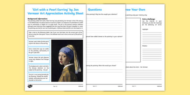 Girl with the Pearl Earring by Vermeer Art Appreciation Activity Sheet - Girl with a Pearl Earring, Vermeer, art, activity, sheet, worksheet