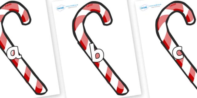 Phase 2 Phonemes on Candy Canes (Plain) - Phonemes, phoneme, Phase 2, Phase two, Foundation, Literacy, Letters and Sounds, DfES, display