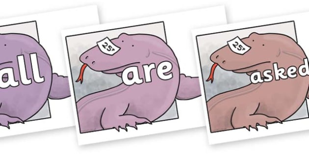 Tricky Words on Komodo Dragon to Support Teaching on The Great Pet Sale - Tricky words, DfES Letters and Sounds, Letters and sounds, display, words