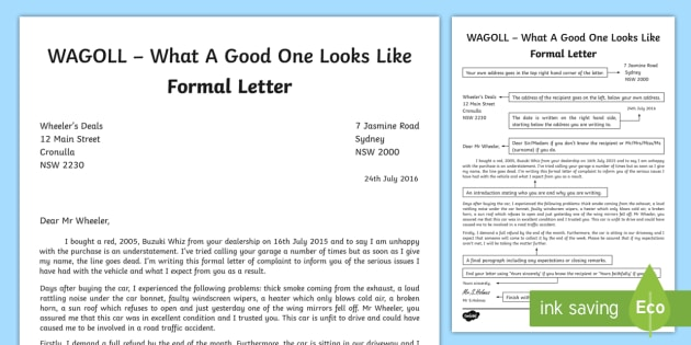 WAGOLL Formal Letter Writing Sample - English, text types