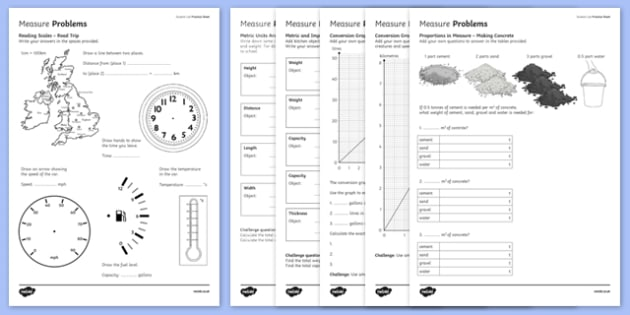 Student Led Practice Measure Problems Activity Sheet - student led, practice, measure, problems, activity, worksheet