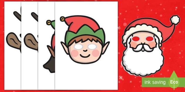 Máscaras de juego de rol -  La Navidad - juego simbólico, jugar, navidad, navideño, navideña,Spanish - juego simbólico, jugar, navidad, navideño, navideña, Spanish