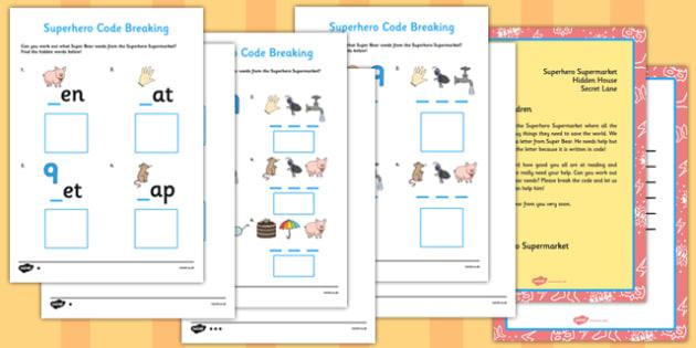 Superhero Code Breaking Resource Pack - superhero, code, breaking