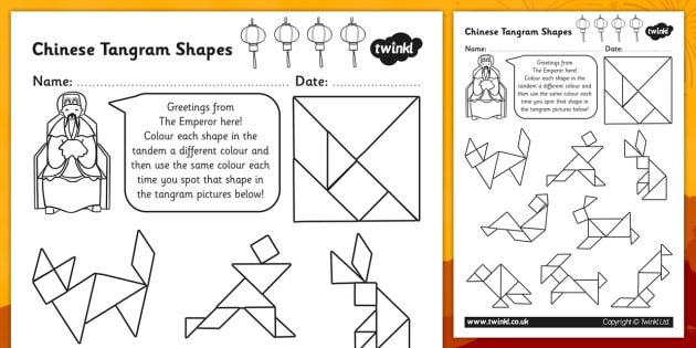 Colour in the Tangram Pictures Activity Sheet colour tangram – Tangram Worksheet