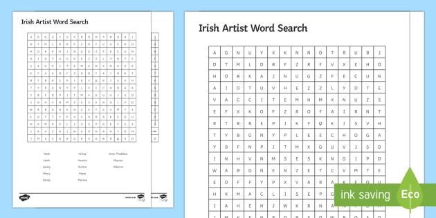 Irish Artist Word Search - Irish Art Resources, art strands, display resources, art appreciation, word search, artist names,Iri