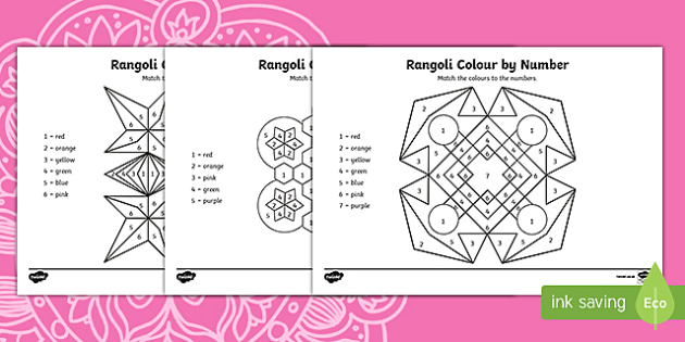 Rangoli Colour By Number Activity Sheets