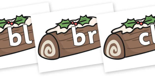 Initial Letter Blends on Christmas Logs - Initial Letters, initial letter, letter blend, letter blends, consonant, consonants, digraph, trigraph, literacy, alphabet, letters, foundation stage literacy