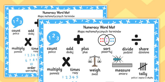 Polish Translation Numeracy Instructions Word Mat - polish, numeracy