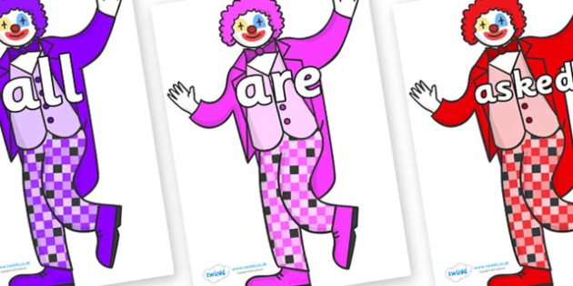 Tricky Words on Clowns - Tricky words, DfES Letters and Sounds, Letters and sounds, display, words