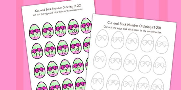 Easter Themed Cut Stick Number Ordering Easter Egg Activity 1-20