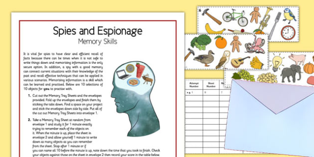 Spies and Espionage Memory Skills - spies, espionage, memory skills, home education
