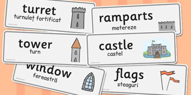 Castles Knights Topic Word Cards Romanian Translation - romanian
