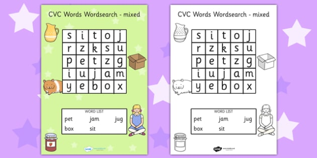 CVC Wordsearch Mixed - CVC words, word search, word games, games