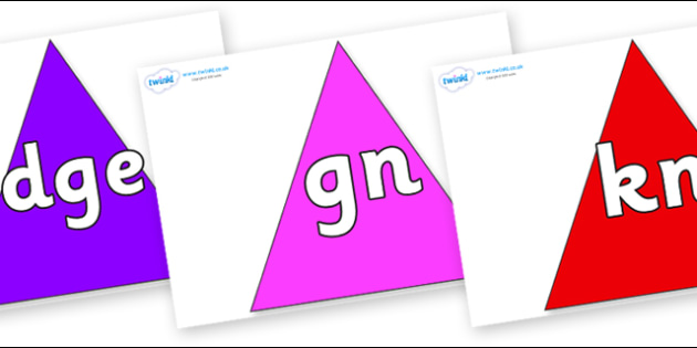 Silent Letters on Triangles - Silent Letters, silent letter, letter blend, consonant, consonants, digraph, trigraph, A-Z letters, literacy, alphabet, letters, alternative sounds