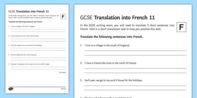 GCSE French: Translation into French - Foundation Tier Activity Sheet 11-French, worksheet