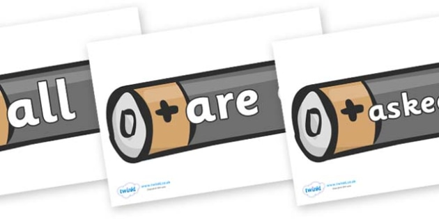 Tricky Words on Batteries - Tricky words, DfES Letters and Sounds, Letters and sounds, display, words