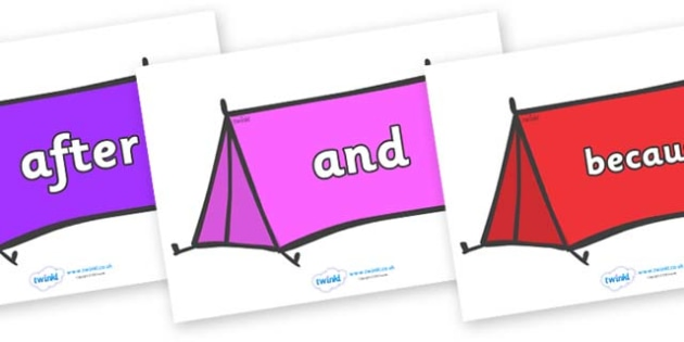 Connectives on Tents - Connectives, VCOP, connective resources, connectives display words, connective displays