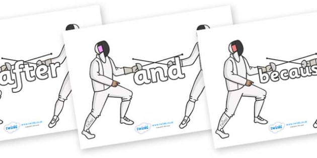 Connectives on Fencing - Connectives, VCOP, connective resources, connectives display words, connective displays