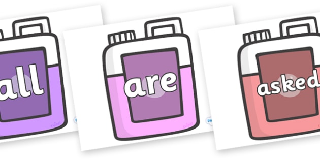 Tricky Words on Bottles - Tricky words, DfES Letters and Sounds, Letters and sounds, display, words