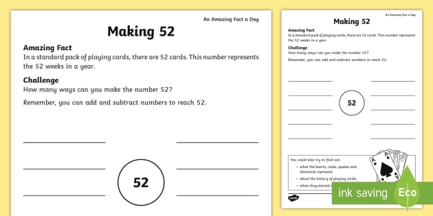 Making 52 Activity Sheet -  amazing fact august, number bonds, KS1, calculations, addition and subtraction, worksheet