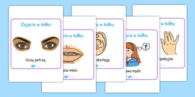 Plakaty Zajęcia w kole po polsku - zachowanie, reguły