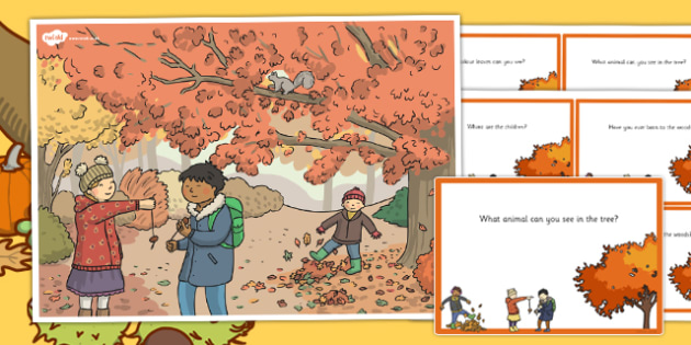 Autumn Woods Scene and Question Cards - autumn, woods, scene, question, cards