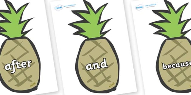 Connectives on Pineapples - Connectives, VCOP, connective resources, connectives display words, connective displays