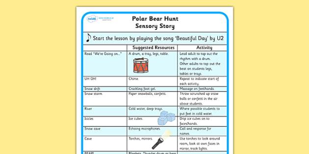 Polar Bear Hunt Sensory Story - we polar bear hunt sensory plan, sensory plan, lesson ideas