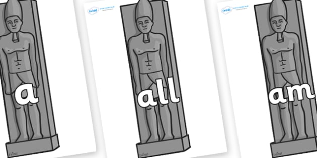 Foundation Stage 2 Keywords on Egyptain Statues - FS2, CLL, keywords, Communication language and literacy,  Display, Key words, high frequency words, foundation stage literacy, DfES Letters and Sounds, Letters and Sounds, spelling