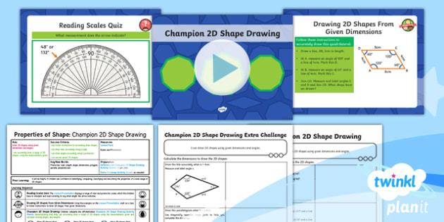 PlanIt Y6 Properties of Shapes Lesson Pack 2D Shape Drawing (2) - Properties of Shape, 2D shapes, polygons, geometric shapes, dimensions