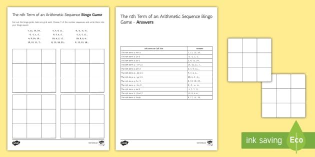 The nth Term of Arithmetic Sequences Bingo - nth term, generate, generating, sequence, arithmetic sequences, bingo.