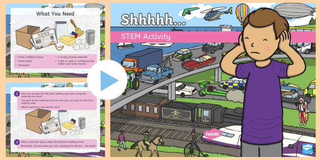 Shhhhhh! STEM PowerPoint - Make a Noise!, sound, noise, soundproofing, STEM, science
