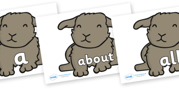 100 High Frequency Words on Rabbits - High frequency words, hfw, DfES Letters and Sounds, Letters and Sounds, display words