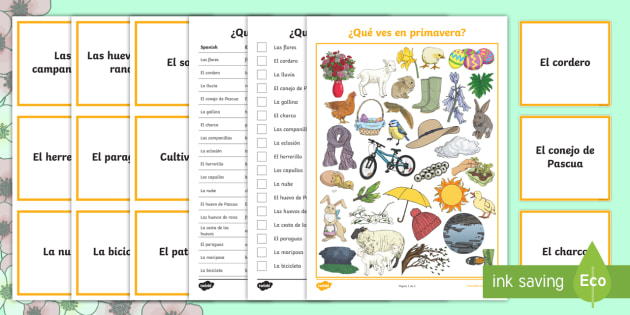 What Can You See in Spring Game - Spanish - spring, game, vocabulary, see, speaking,Spanish