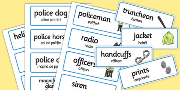 Police Role Play Word Cards Romanian Translation - romanian