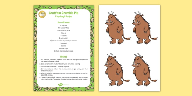 Gruffalo Crumble Pie Playdough Recipe To Support Teaching On The Gruffalo - eyfs, food, recipe, play, making, craft, planning, support