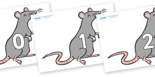 Numbers 0-31 on Rats - 0-31, foundation stage numeracy, Number recognition, Number flashcards, counting, number frieze, Display numbers, number posters