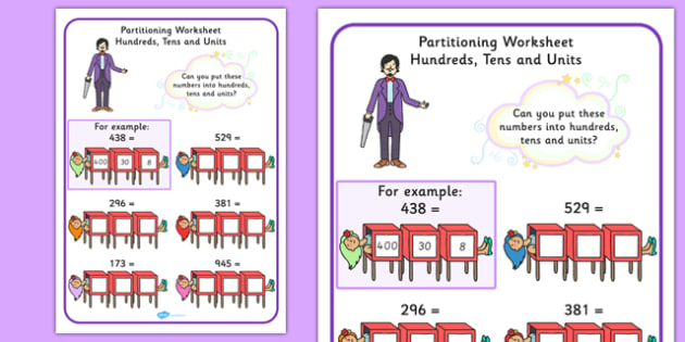 Maths Magician Partitioning Worksheet Hundreds Tens Units