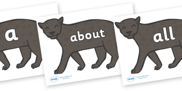 100 High Frequency Words on Panthers - High frequency words, hfw, DfES Letters and Sounds, Letters and Sounds, display words